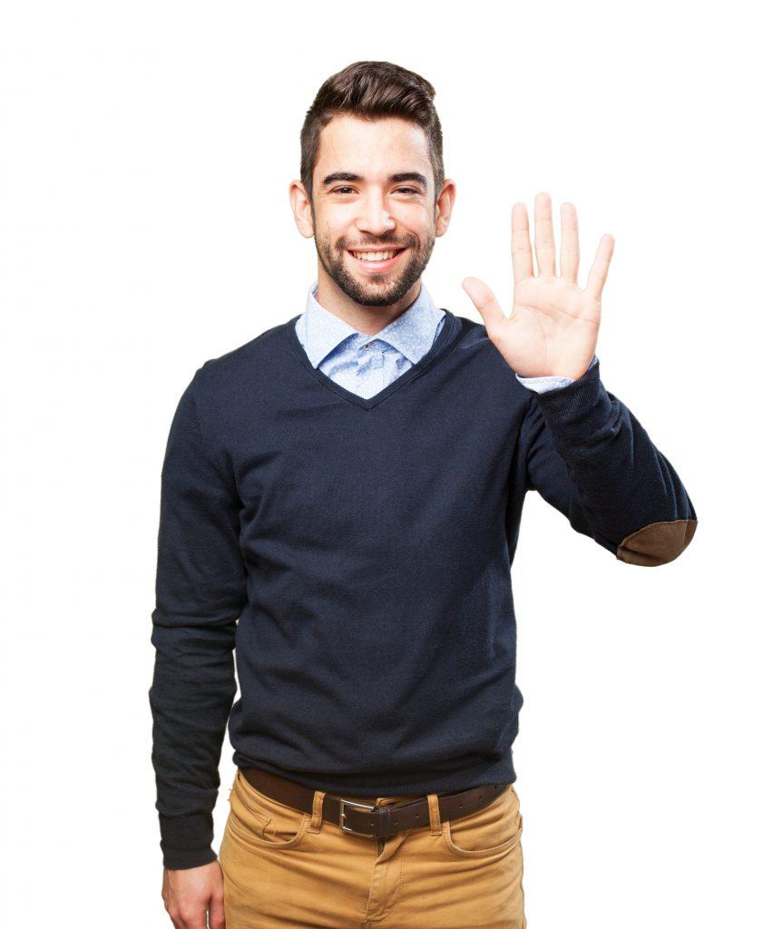 5-öt mutató férfi kép bejegyzésbe